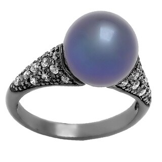 Pearl Lustre Black Sterling Silver Freshwater Pearl and Cubic Zirconia Ring