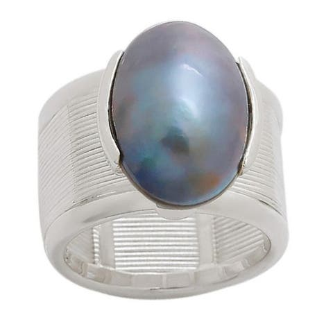 Pearl Lustre Sterling Silver Black Mabe Pearl Ring