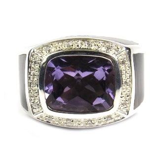 Pearl Lustre Unisex Sterling Silver Amethyst Quartz and Mother of Pearl Diamond Accent Ring