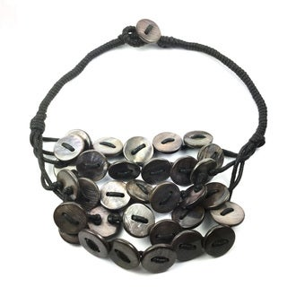 Pearl Lustre Black Button Shell Necklace