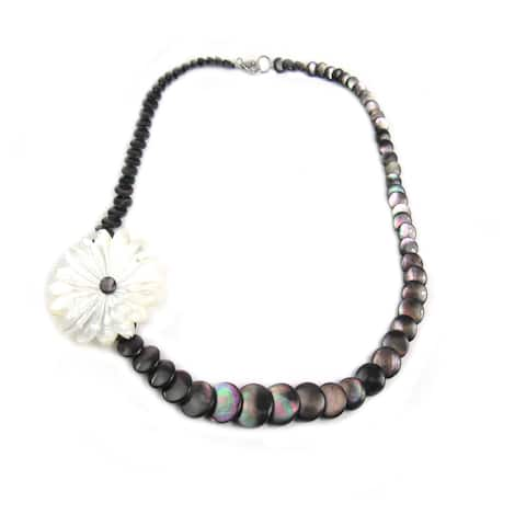 Pearl Lustre Sterling Silver Mother of Pearl Flower Necklace - Black