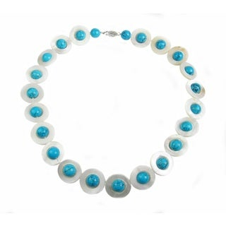 Pearl Lustre Shell and Turquoise Necklace