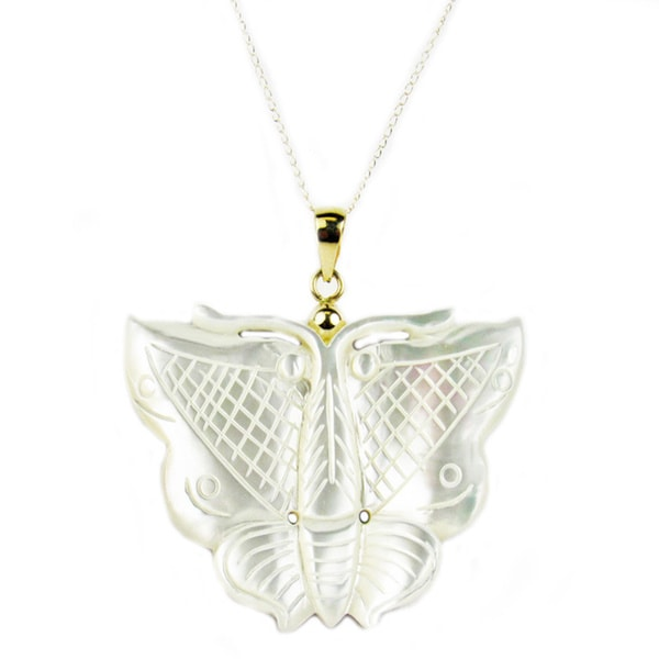 Pearl Lustre 14k Gold Mother of Pearl Butterfly Pendant Necklace