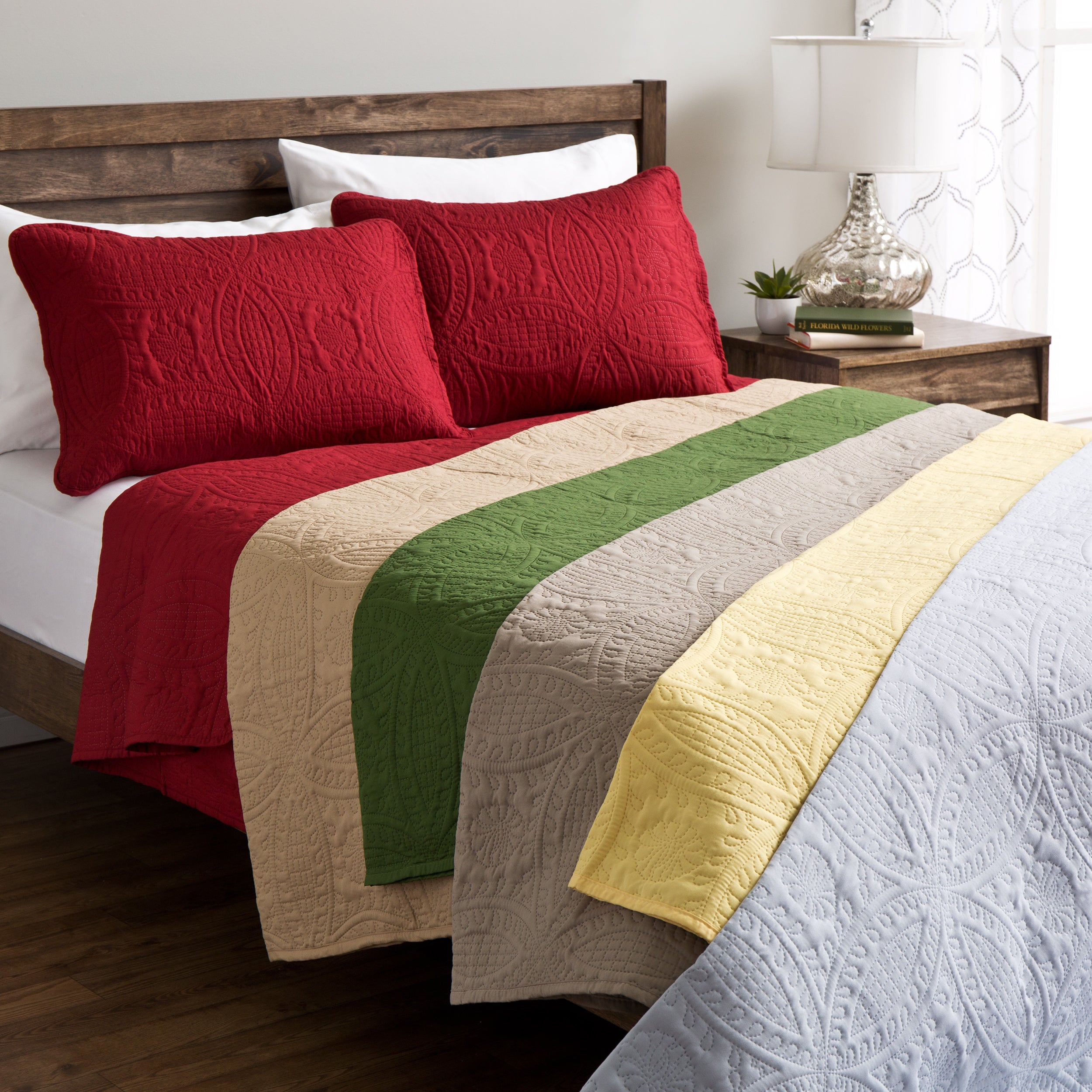 Sunrise Fashion Solid Quilt Set King Size in Yellow (As I...