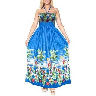 La Leela SOFT Likre Halter Cover up Beachwear Maxi Long Tube Dress Women Blue