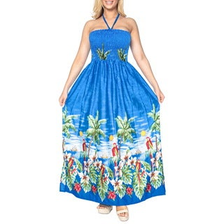 La Leela Cover up Women Beachwear Maxi SOFT Likre Halter Long Tube Dress Blue