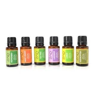 ZAQ Pure Therapeutic-grade Aromatherapy Eucalyptus, Lavender, Lemon, Orange, Peppermint, Tea Tree Essential Oil Set (Set of 6)