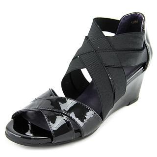 Vaneli Women's Mireil Black Patent Leather Wedge Dress Shoes