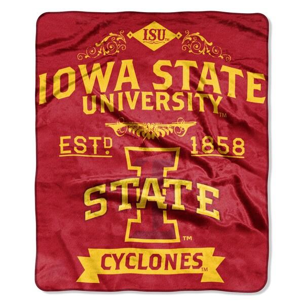 COL 704 Polyester Iowa State Label Raschel Throw