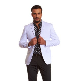 Suslo Couture Men's White Sateen Sport Coat Blazer