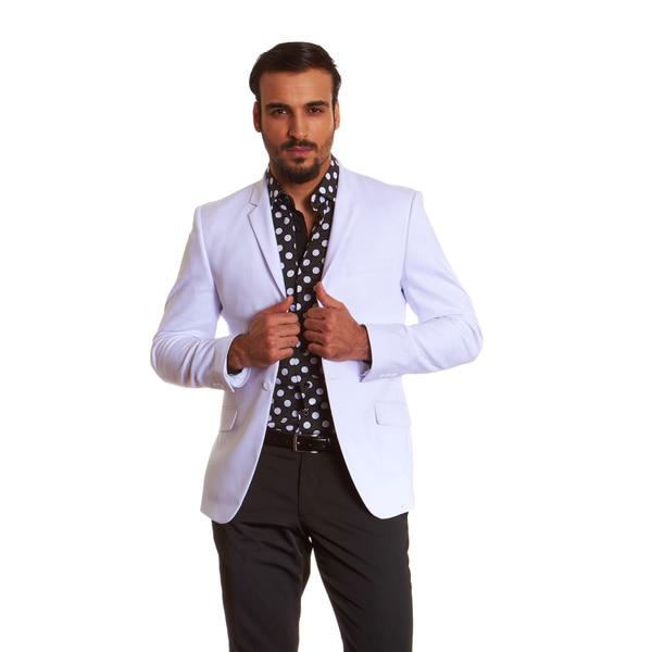 Suslo Couture Men's White Sateen Sport Coat Blazer - Free Shipping ...