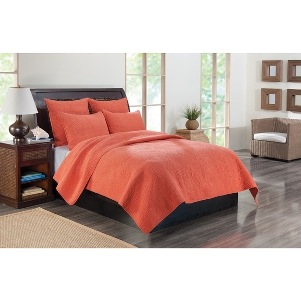 Greenland Home Fashions Kahlua Coral 3-piece Quilt Set