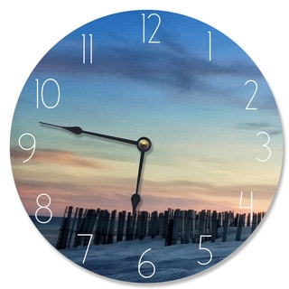 Wood 'Sand Dune Fence at Sundown' Vanity Clock