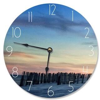 Wood 'Sand Dune Fence at Sundown' Vanity Clock