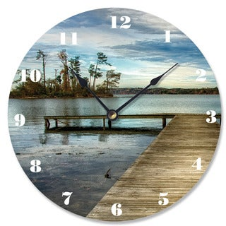 Stupell Dock Overlooking Island White/Blue Wood Vanity Clock