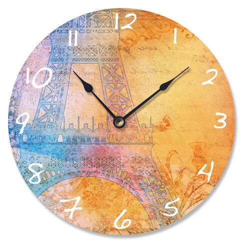 Bright Paris Eiffel Tower Wood Vanity Clock