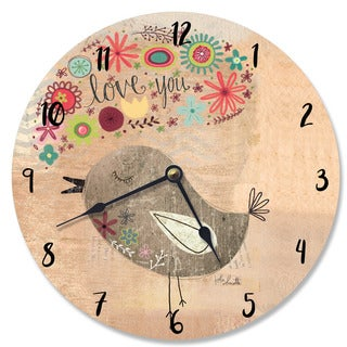Love You Little Birdie Beige Wood Wall Clock