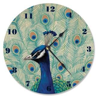 Blue Peacock II Wood Vanity Clock