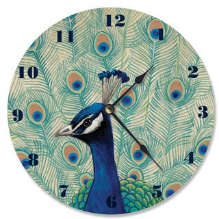 Blue Peacock II Wood Vanity Clock