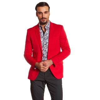 Suslo Couture Men's Etan Red Acetate Sport Coat Blazer