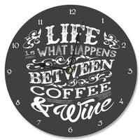 Stupell Life, 'Between Coffee and Wine' Chalk Vanity Clock