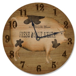 Brown Wood 'Dealer in Fresh and Salt Meats' Art Vanity Clock