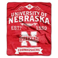 COL 704 Nebraska Label Raschel Throw