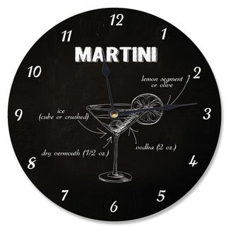 Classic 'Martini' Instructions Black Wood Vanity Clock