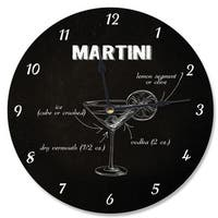 Classic 'Martini' Instructions Black Wood Vanity Clock