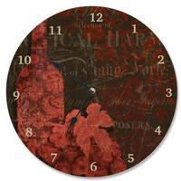 Stupell Damask Wine Brown Wood Vanity Clock