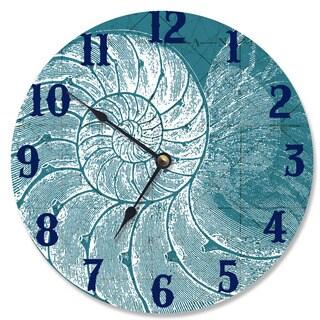Blue/White Wood Wall Clock