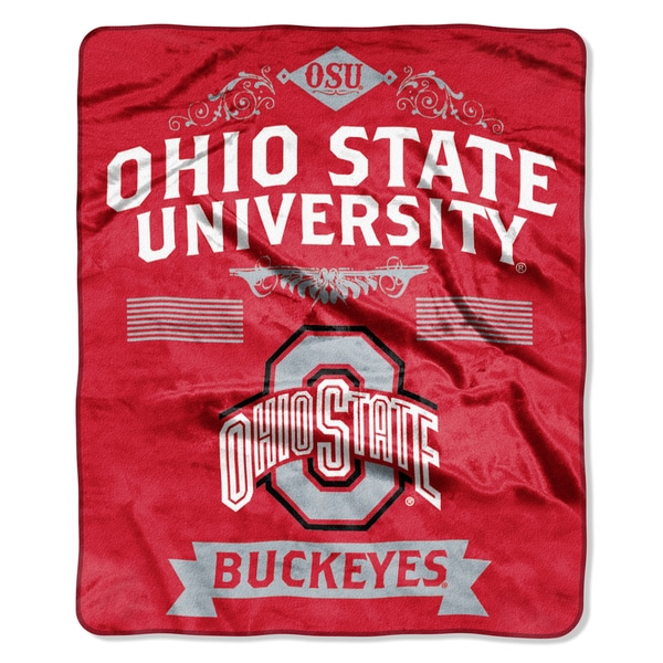COL 704 Polyester Ohio State Label Raschel Throw