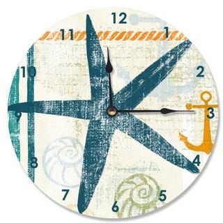 Beach Theme Starfish Wood Vanity Clock
