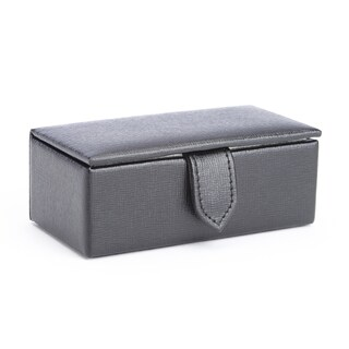 Royce Saffiano Genuine Leather Suede-lined Travel Cufflink Storage Box (Fits 2 Pairs)