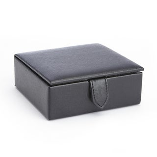 Royce Saffiano Black Genuine Leather Suede-lined 3-inch x 3-inch x 1-inch 4-pair Cufflink Box