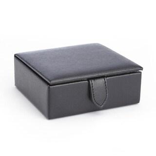 Royce Saffiano Black Genuine Leather Suede-lined 3-inch x 3-inch x 1-inch 4-pair Cufflink Box