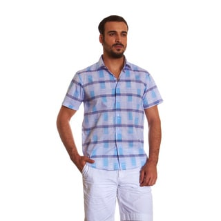 Suslo Couture Men's Ray White Cotton Button-up Shirt