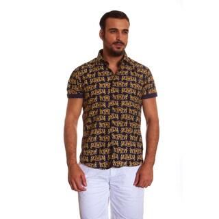 Suslo Couture Men's Marav Gold Cotton Button-down Shirt