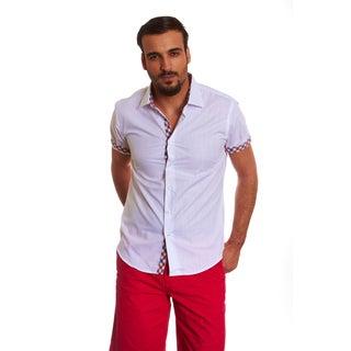 Suslo Couture Men's Leno White Button-front Shirt
