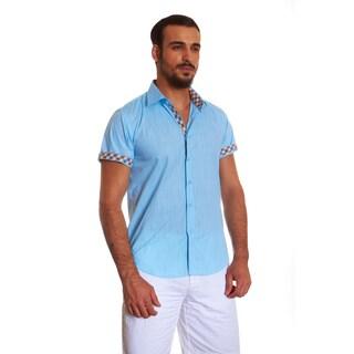 Suslo Couture Men's Blue Cotton Button-down Long-sleeve Shirt
