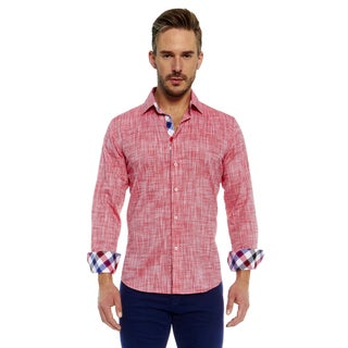 Suslo Couture Men's Red Linen Button Down Shirt