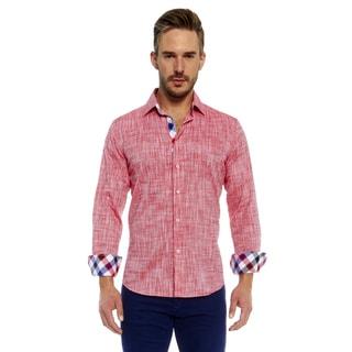 Suslo Couture Men's Red Linen Button Down Shirt
