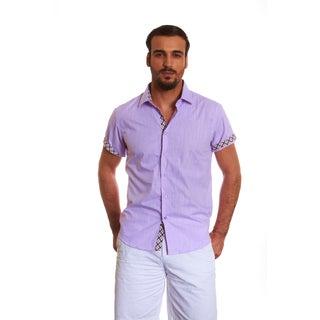 Suslo Couture Men's Leno Lavender Cotton Button-down Shirt