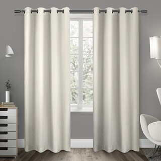 """Sateen Twill Weave Insulated Blackout Window Curtain Panel (Pair) 96"""" in Vanilla (As Is Item)"""