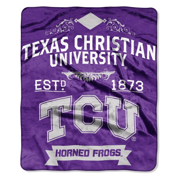 COL 704 Texas Christian Label Raschel Throw