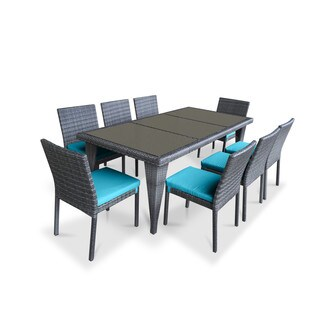 Urban Furnishing Blue PVC Wicker Outdoor Patio 9-piece Dining Set