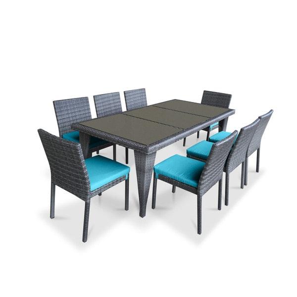 Urban Furnishing Blue PVC Wicker Outdoor Patio 9-piece Dining Set