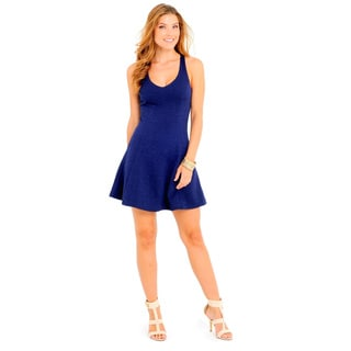 Sara Boo Women's Navy Polyester/Spandex Fit and Flare Dress