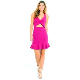 Sara Boo Women's Cross My Heart Black/Pink Polyester/Spandex Flutter-hem Dress