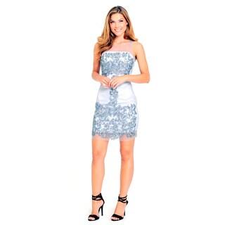 Sara Boo Women's Grey Polyester/Spandex Sheer Sequin Shift Dress